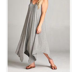 Light Gray Crotchet Strap Summer Maxi Dress Plus